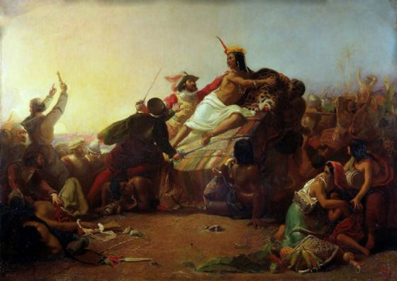 Millais, John Everett: Pizarro Seizing the Inca of Peru. Fine Art Print/Poster. Sizes A4/A3/A2/A1 (001236)